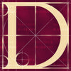 Canvas artwork monogram wall art letter D burgundy