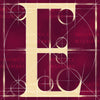 Canvas artwork monogram wall art letter E burgundy