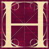 Canvas artwork monogram wall art letter H burgundy