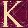 Canvas artwork monogram wall art letter K burgundy