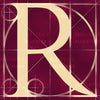 Canvas artwork monogram wall art letter R burgundy