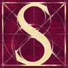 Canvas artwork monogram wall art letter S burgundy