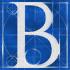 Canvas artwork monogram wall art letter B blue & white