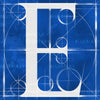 Canvas artwork monogram wall art letter E blue & white