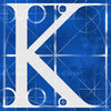 Canvas artwork monogram wall art letter K blue & white