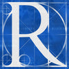 Canvas artwork monogram wall art letter R blue & white