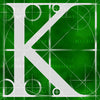 Canvas artwork monogram wall art letter K green & white