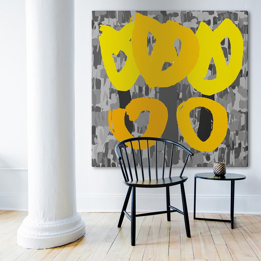 Yellow and Silver Canvas Art in Room