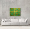Yellow fusion sample canvas art on a wall with sofa