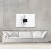 Yin sample canvas art on a wall with sofa