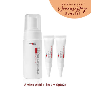 Swissvita Micrite 3D Amino Acid Cleansing Foam  – 150ml (VitaBtech) + Swissvita Micrite 3D All Use Skin Serum 5g (VitaBtech) (2pcs)