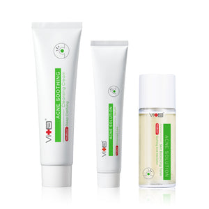 【Daily Use: Oily Skin】Swissvita Acne Soothing Cleanser Cream 100g (VitaBtech) + Swissvita Acne Solution Skin Balancing Toner-120ml (VitaBtech) + Swissvita Acne Solution Skin Balancing Serum-50g (VitaBtech)