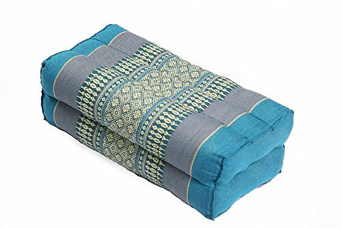Pillow Block 35x15x10cm, kapok-filled, Support Cushion for Yoga and Meditation, Traditional Thai Design Lightblues