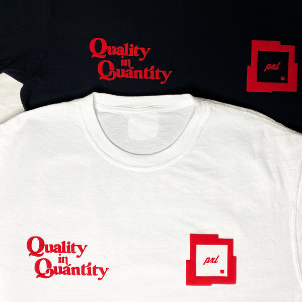 PXL 'QUALITY IN QUANTITY' TEE —WHITE