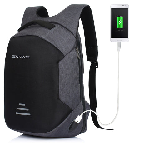 Suntop 30 Litre Anti Theft Backpack with USB Charging Port - Dark Grey (Waterproof, Durable, Anti-Theft)