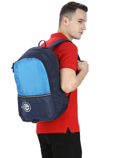 Suntop Pixel Backpack Bag(Black and Airforce Blue)