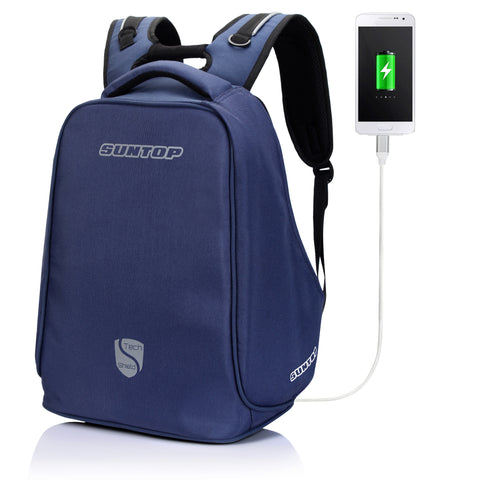 Suntop Anti-Theft TechShield USB Backpack (Blue)