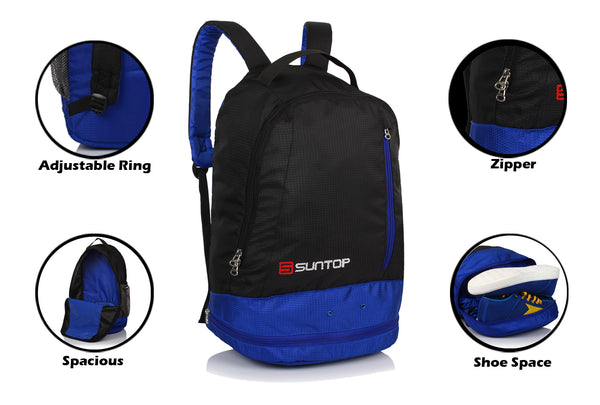 Suntop Air One 20 Litres Lightweight Backpack Bag with Shoe Compartment (Indigo)