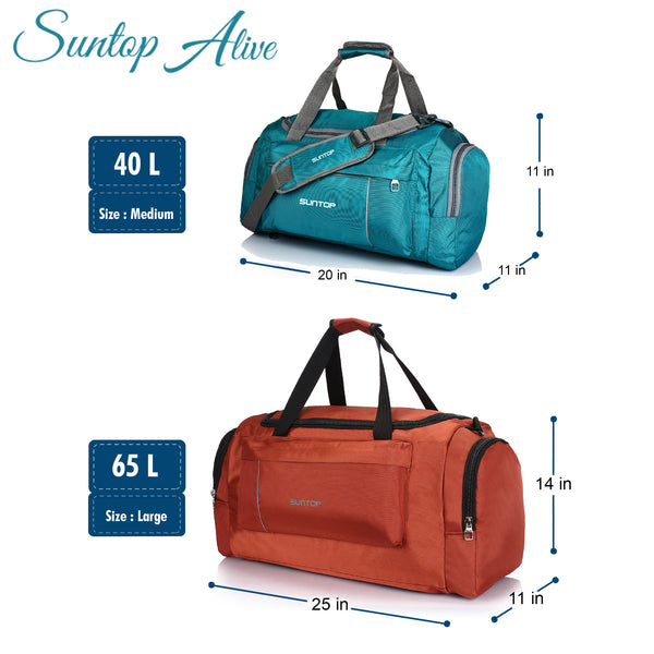Suntop Alive Large Nylon/Polyester 65 litres/25 inches Duffel Bag for Travel (Tan Color)