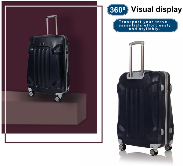 Suntop 4 wheel Hardsided ABS+PC Suitcase 3 Piece Set (Blue)
