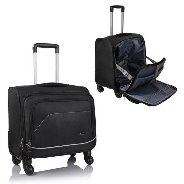 Suntop Tech Wheelie USB Laptop Bag with 360 degree rotating 4 wheels Spinner Trolley (Black Color)