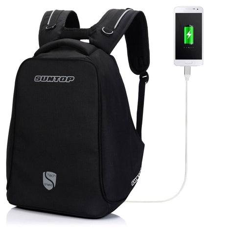 Suntop Anti-Theft TechShield USB Backpack (Black)