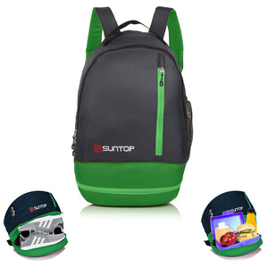 Suntop Air One 20 litres Lightweight Backpack Bag with Shoe Compartment (Green and Grey)
