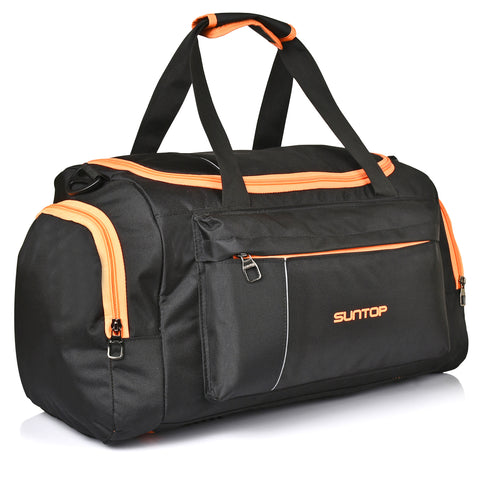 Suntop Alive Travel/Gym/Fitness Travel Duffel Bag  (Black, Orange, Neon)