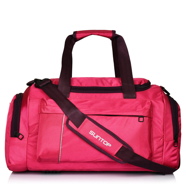 Suntop Alive Nylon/Polyester 40Ltr Travel Duffel / Gym Bag for Women,Girls Bag (Pink & Beige)