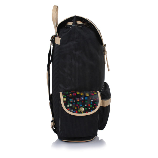 Suntop Dapper 9 25 L Free Size Laptop Backpack(Black & 3d Squares)
