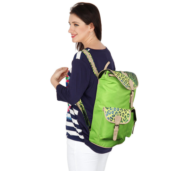 Suntop Wild 9 25 L Free Size Backpack(Green and Cheetah Zebra Print)