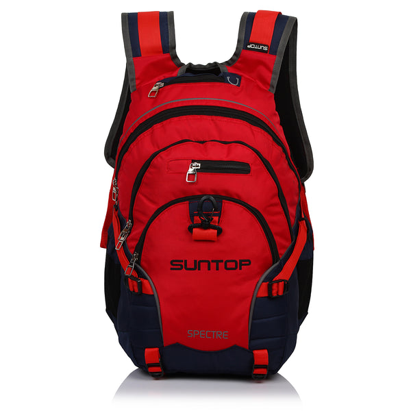 Suntop Spectre 35 Ltr Casual Backpack with Inbuilt Waterproof Raincover (Red and Blue)