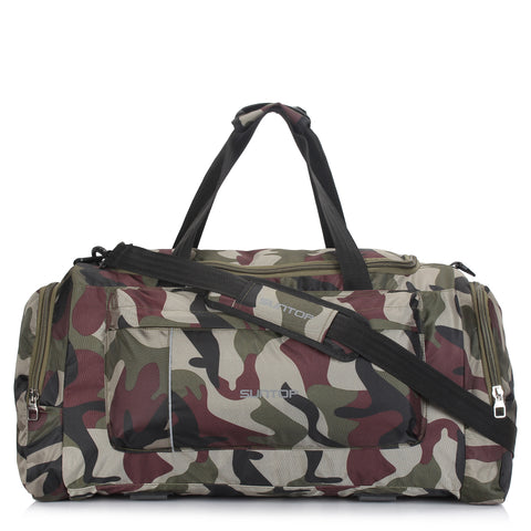 Suntop Alive Large Nylon/Polyester 65 litres/25 inches Duffel Bag for Travel (Army Print)