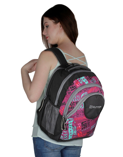 Suntop Surf 30 L Backpack(Black and Pink)