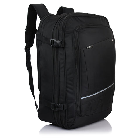 Suntop Voyager 48 ltr Expandable & Convertible 3 Way Travel Carry-On Backpack (Black Color)