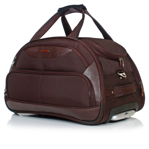 Suntop (Expandable) Leather Touch Duffel Strolley Bag  (Brown)