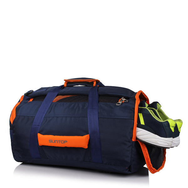 Suntop Sports 45 Ltrs Blue, Orange Large Travel Gym Bag With Ventilated Shoe Compartment