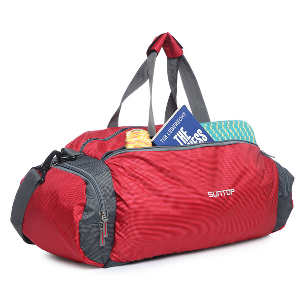 Suntop Barrel 40 litres Red And Grey Checks Softsided Lightweight Travel Duffel Bag