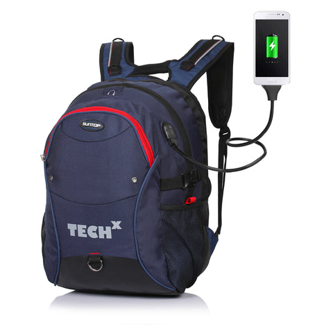 Suntop TechX USB Laptop Backpack for upto 15.6 inches (Blue)