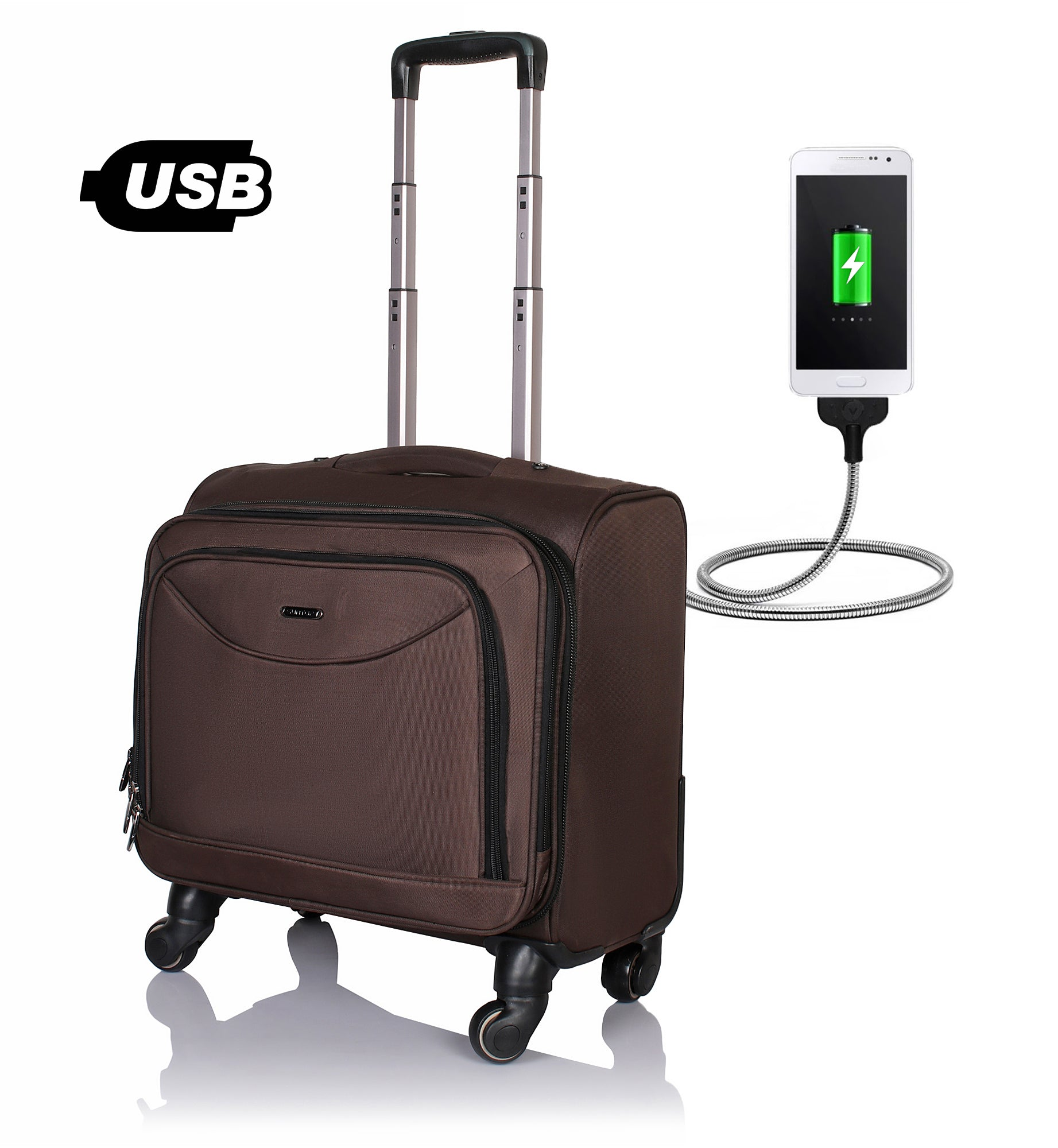 Suntop TechU Wheelie USB Laptop Bag with 360 degree rotating 4 wheels Spinner Trolley (Brown Color)