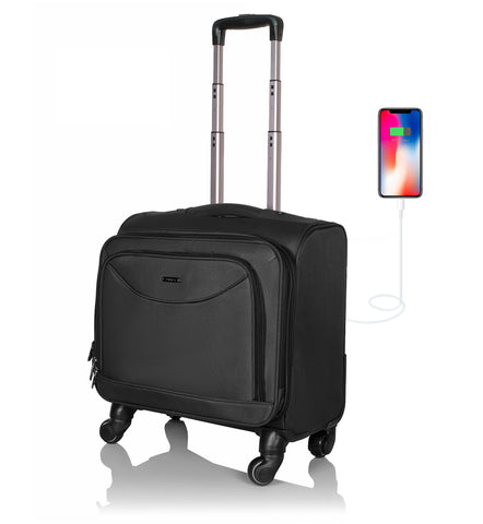 Suntop Tech Wheelie USB Laptop Trolley Bag with 360 Degree Rotating 4 Wheels (Black Color)