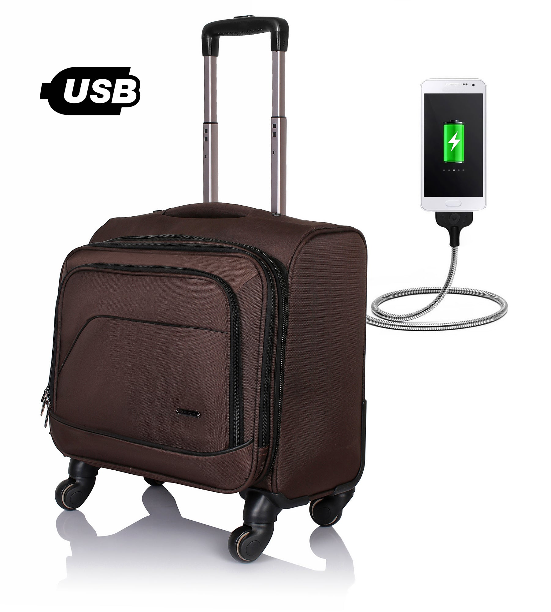 Suntop TechV Wheelie USB Laptop Bag with 360 degree rotating 4 wheels Spinner Trolley (Brown Color)