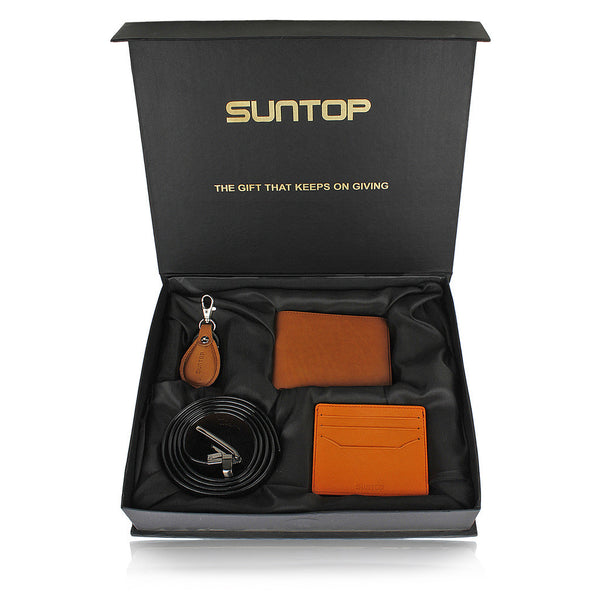 Suntop Piero Genuine Leather Wallet Combo with Leather Keychain, Card-Holder and Reversible Buckle Belt