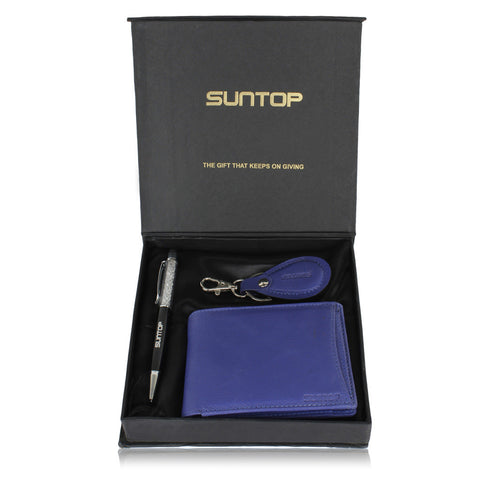 Suntop Blau Genuine Leather Wallet,Key Chain and Pen Combo