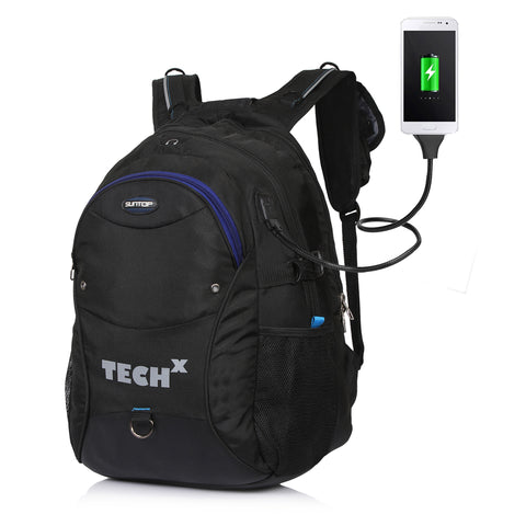 Suntop TechX USB Laptop Backpack for upto 15.6 inches (Black)