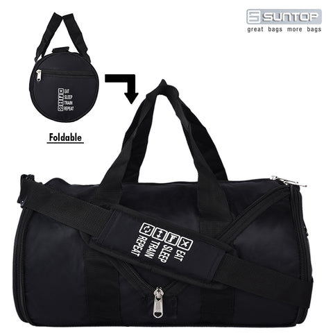 Suntop Defender 23 Litres Foldable Gym Cum Travel Bag Black Colour