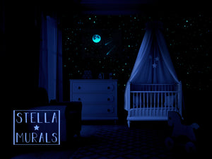 Glow in the Dark Star Star Ceiling | Moon and Shooting Stars | White