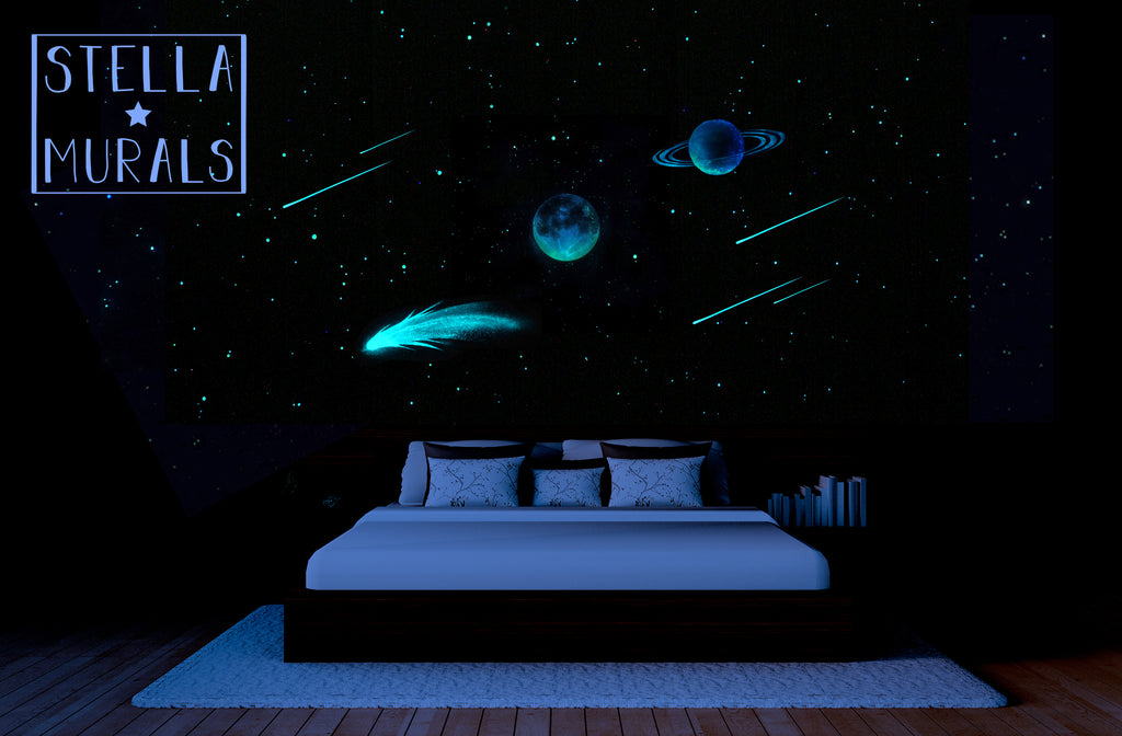 Glow in the Dark Star Ceiling | Moon | Comet | Planet | Shooting Stars | White