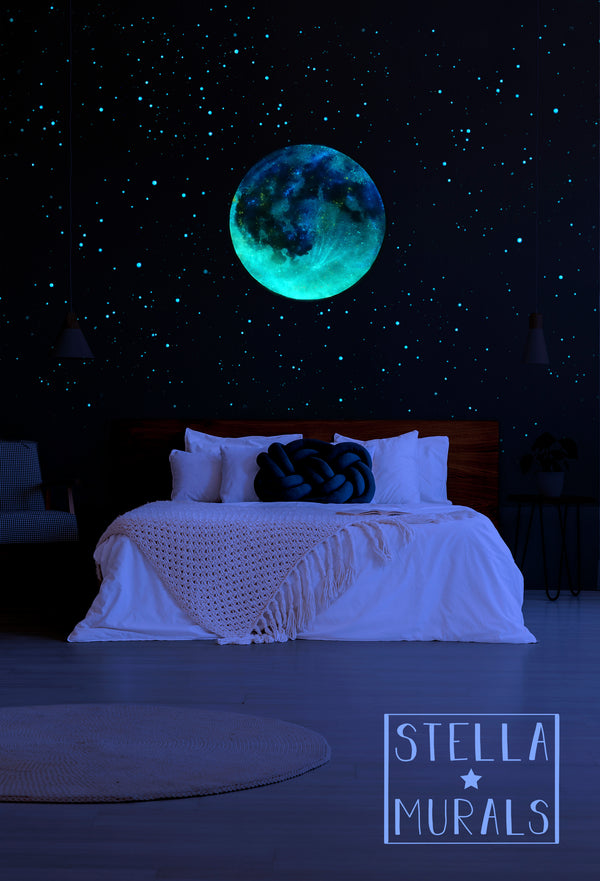 Glow in the Dark Star Ceiling | Extra Large Moon | Clear Vinyl