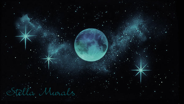 Moon and Sparkle Stars Mural | Large Decal for Star Ceiling
